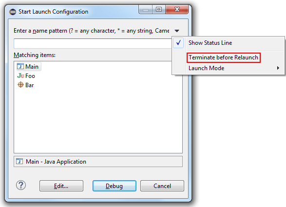 Terminate and Relaunch in Eclipse